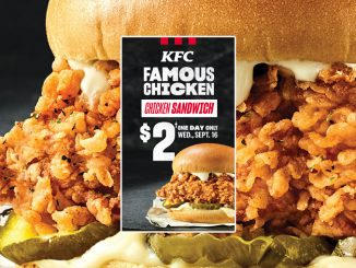 $2 Famous Chicken Chicken Sandwich Deal At KFC Canada on September 16, 2020