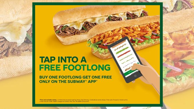 Buy One, Get One Free Footlong Via The Subway Canada App Starting September 8, 2020