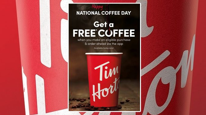 Free Any Size Coffee At Tim Hortons On September 29, 2020