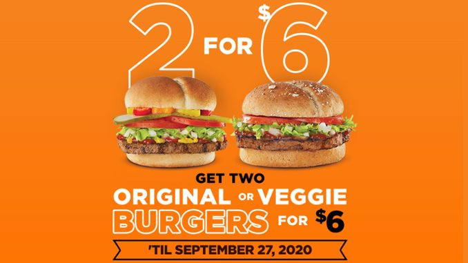 Harvey's Welcomes Back 2 For $6 Original Or Veggie Burgers Deal