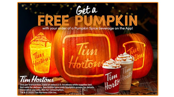 Tim Hortons USA Offers A Free Pumpkin With The Purchase Of Any Pumpkin Spice Beverage
