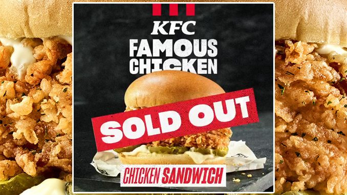 New KFC Famous Chicken Chicken Sandwich Sells Out Across Canada