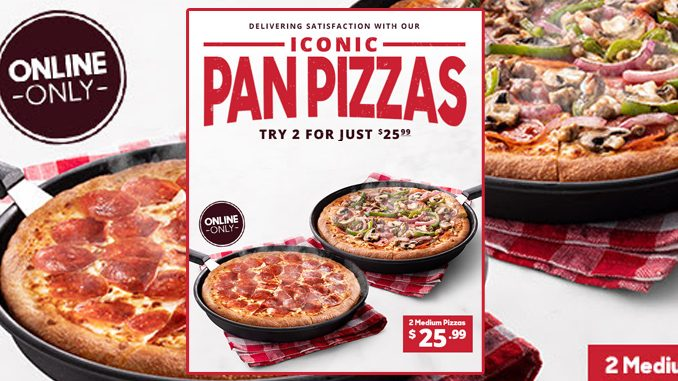 Pizza Hut Canada Offers 2 Medium 3-Topping Pizzas For $25.99 When Ordered Online