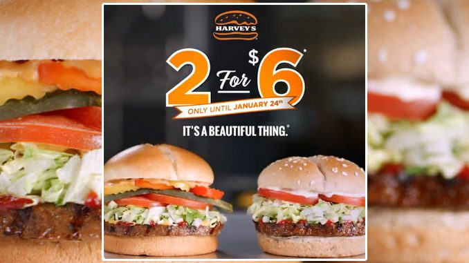 Harvey's Offers 2 For $6 Original Or Veggie Burgers Deal Through January 24, 2021