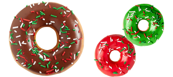 Holiday Sprinkles Doughnut and Red and Green Minis.