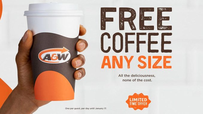 A&W Canada Offers Free Any Size Coffee Until January 17, 2021