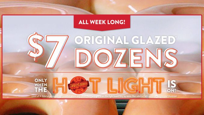 Krispy Kreme Canada Offers A Dozen Original Glazed Doughnuts For $7 For A Limited Time