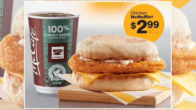 McDonald's Canada Puts Together $2.99 Chicken McMuffin Deal