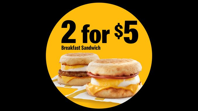 McDonald's Canada Offers 2 For $5 Breakfast Sandwich Deal On April 22, 2021