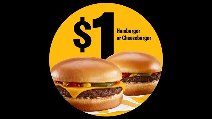 McDonald's Canada Offers $1 Hamburger Or Cheeseburger In The App On May 4, 2021