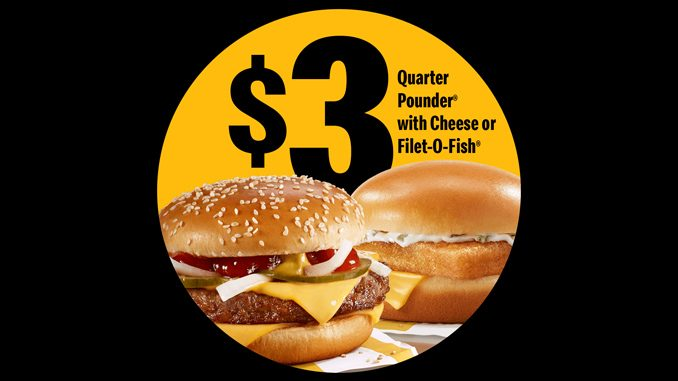 McDonald's Canada Offers $3 Quarter Pounder With Cheese Or Filet-O-Fish On May 2, 2021