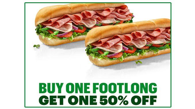 Buy Any Footlong, Get One 50% Off At Subway Canada Through June 27, 2021