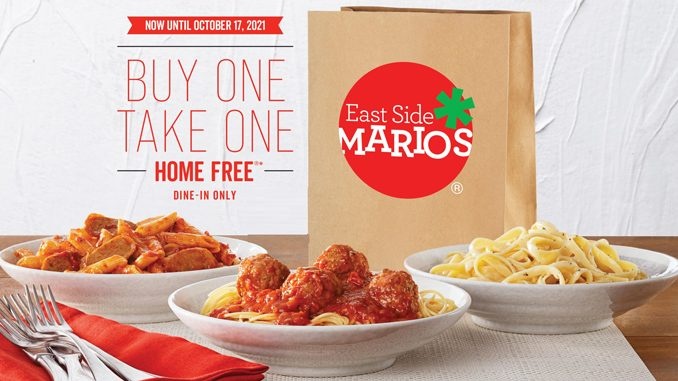 Buy One, Take One Home Free Event Is Back At East Side Mario's Through October 17, 2021